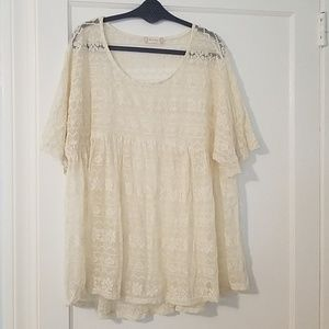 Altar'd State Cream Lace Tunic Top